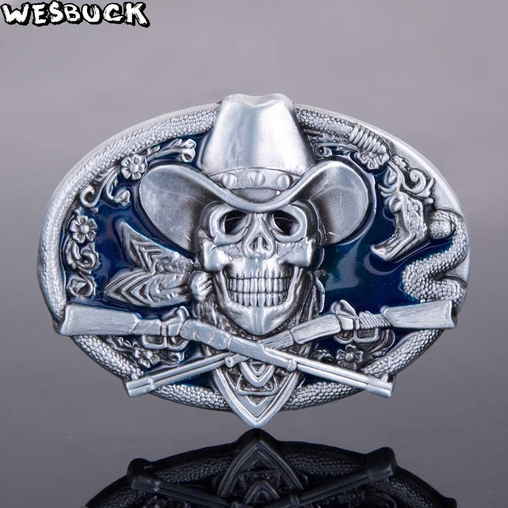 2pcs Cowboy Western Skull Skeleton Head BIKER TO THE BONE Belt Buckle Men/'s
