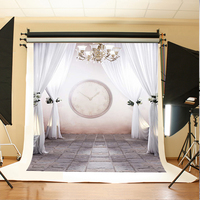 Wedding Photography Backdrops Clock Chandelier Flowers Digital Printing Background Gray Stone Brick Floor Background For Photos