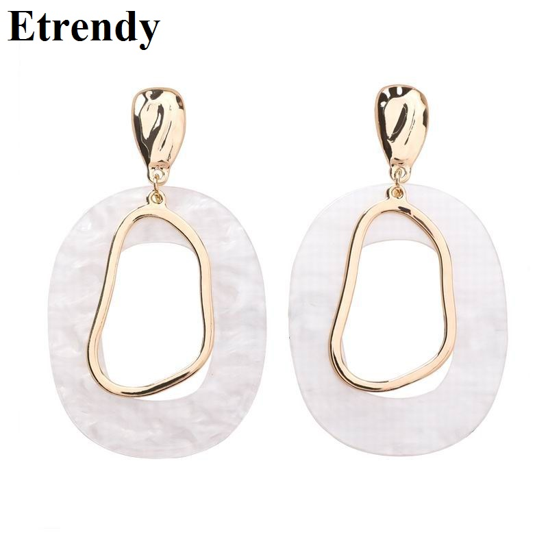 White Acrylic Geometric Drop Dangle Earrings For Women ...