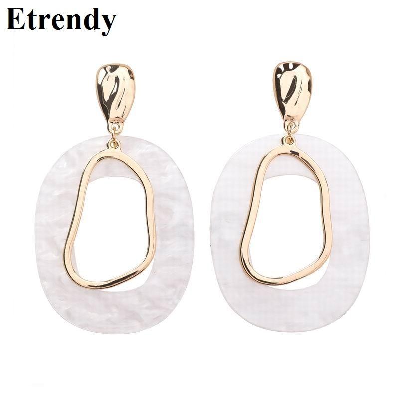 White Acrylic Geometric Drop Dangle Earrings For Women Statement Big Earrings 2019 Fashion Jewelry Party Accessories Bijoux