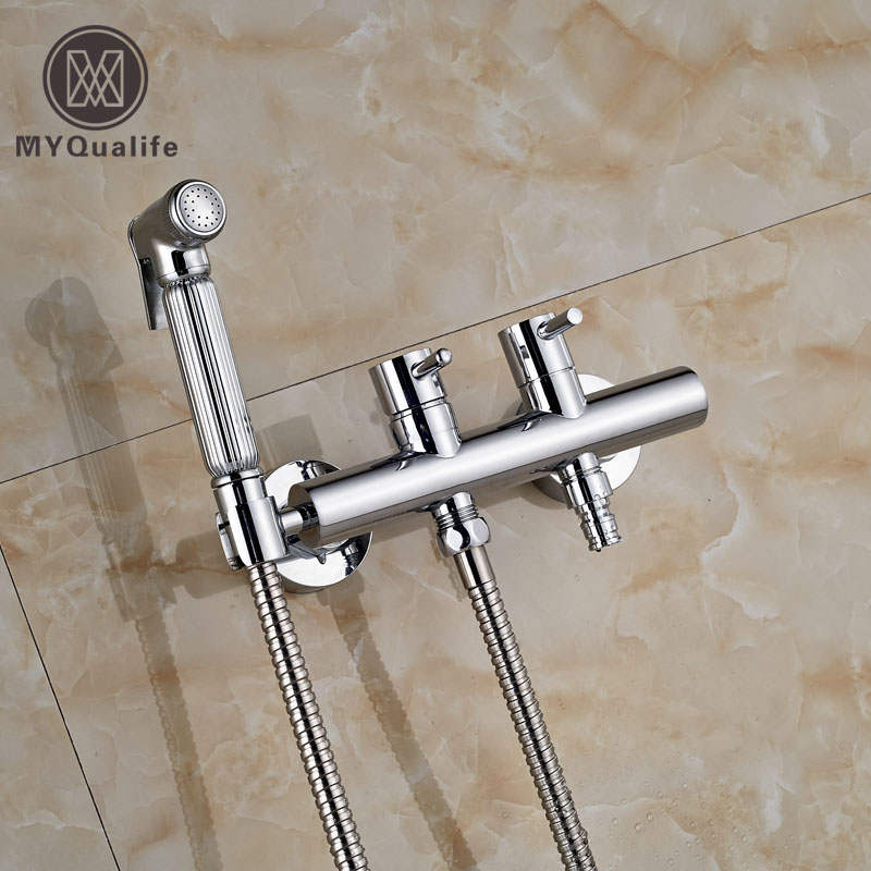 Chrome Finish Brass Shattaf Toilet Bidet Spray Hand Held Portable Bidet Shower Washing Machine Taps gold solid brass sprayer hand held bidet shattaf spray factory toilet shower jet