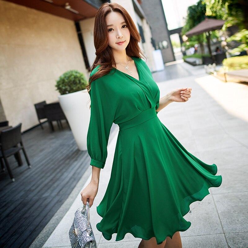 Dabuwawa зеленое осеннее шифоновое платье с длинным рукавом с v-образным вырезом и рукавом «летучая мышь», винтажное платье с бантом