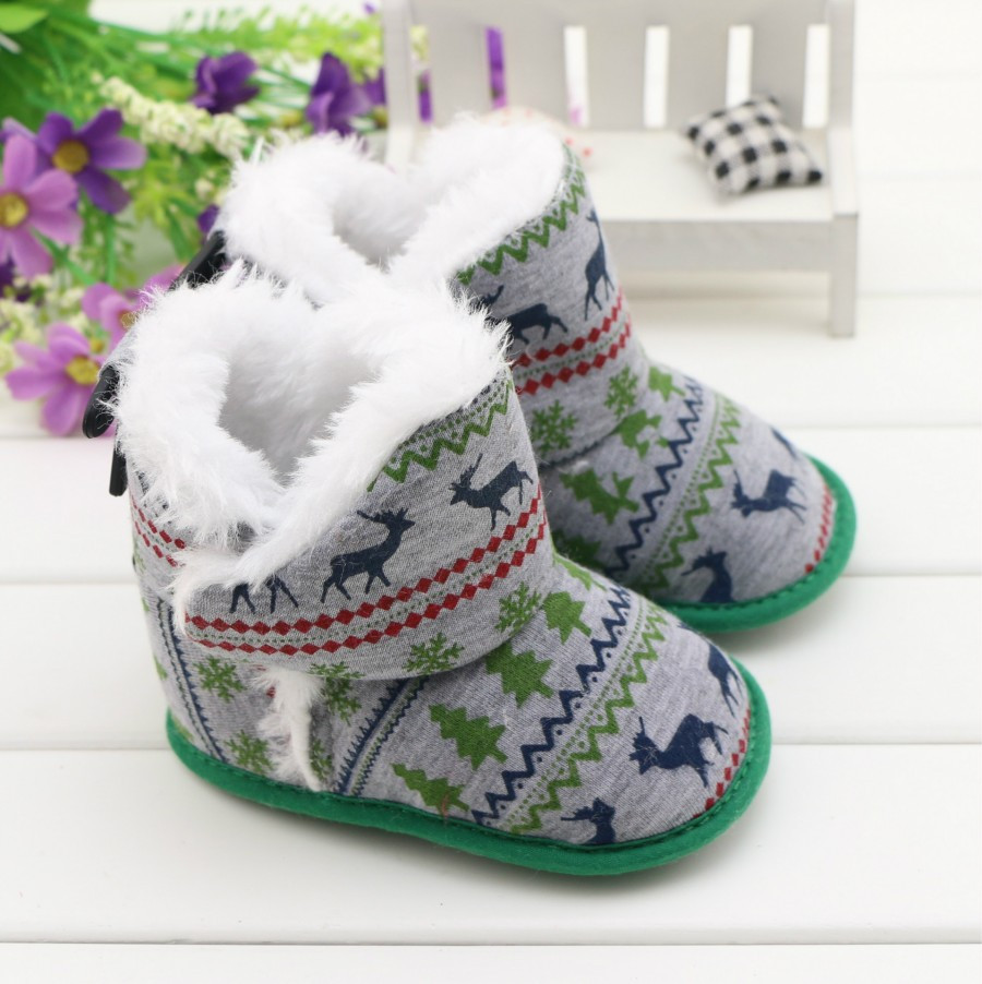 Christmas Elk Boots For Newborn Baby Warm Toddler Shoes Infants Booties Winter Happy New Year Gifts