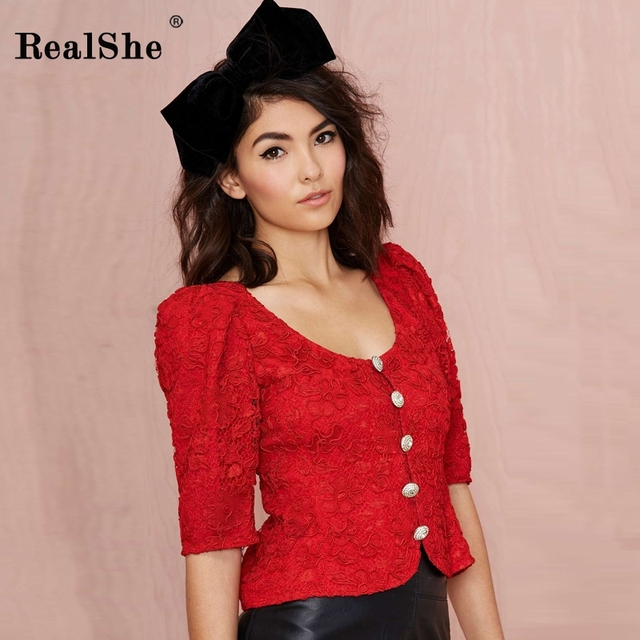 RealShe Red Spring Lace Hollow Out Women Coats and Jackets Embroidered Basic Coats Vintage Autumn Half Sleeve Coat