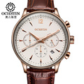 OCHSTIN Mens Business Watches Top Brand Luxury Waterproof Chronograph Watch Man Leather Sport Quartz Wrist Watch Men Clock Male