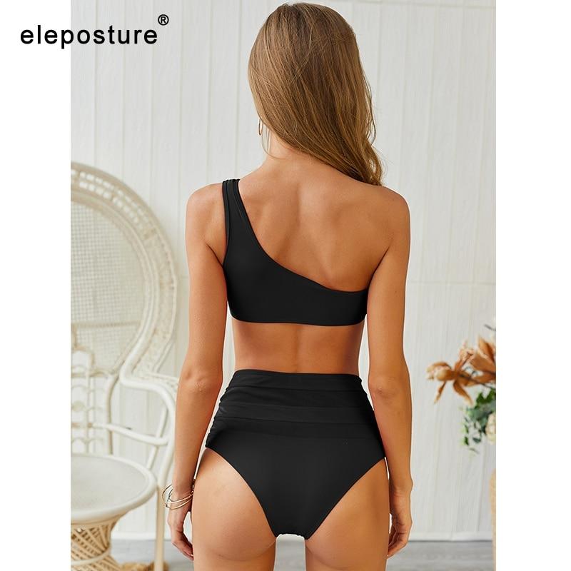 2020 New Sexy Lace Bikinis Women Swimsuit High Waist Bikini Swimwear One Shoulder Bikini Set Solid Bathing Suit Summer Beachwear 2