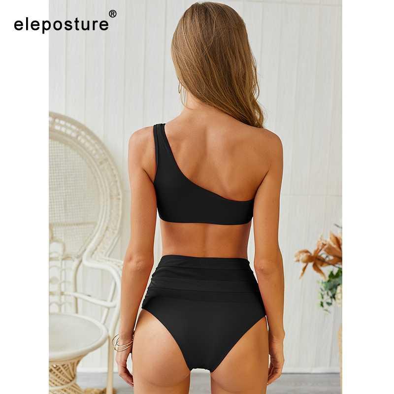 2020 nouveau Sexy dentelle Bikinis femmes maillot de bain taille haute maillot de bain Bikini une épaule Bikini ensemble solide maillot de bain été vêtements de plage