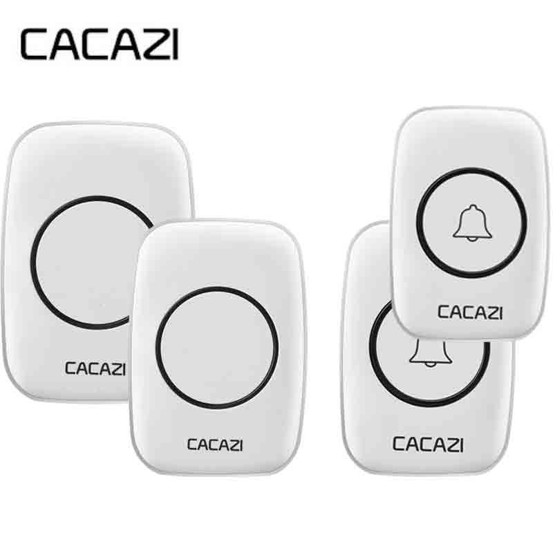 Free Shipping 2 receivers+2 transmitters White EU Plug Waterproof Wireless Doorbell 38 Melody Home Smart Alarm doorbell AC220V new 2 transmitters