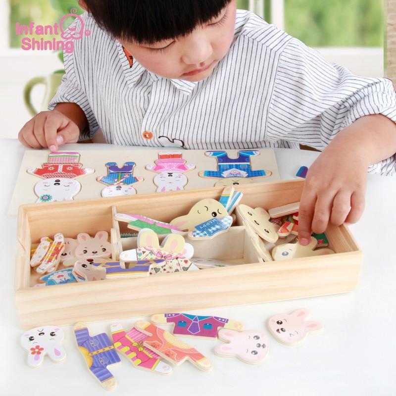 Infant Glänzende Puzzles Spielzeug Holzblöcke Baby Holzspielzeug Bär Dressing Spielzeug Lernspielzeug Modell Kits Baustein