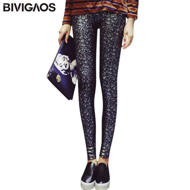 BIVIGAOS Női őszi új vastag, fényes leggings Elasztikus pamut leggings nadrág koreai személyiség arany bélyegző ceruza nadrág nők
