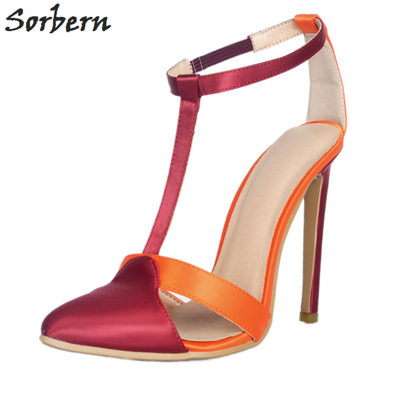 цена на Sorbern Multi Color Silk T-Strap Women Pumps High Heel Shoes Dress Party Shoes Stilettos Thin Shoes Women Heels Pumps Women Shoe