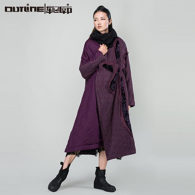 Outline casacos parka para as mulheres do vintage engrossar casaco quente frio em Casuais Étnica Solto Casaco para o Inverno Plus Size Outwear L154Y028