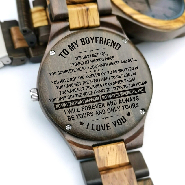 To My Boyfriend The Day I Met You I Found My Missing Piece ENGRAVED WOODEN WATCH 4