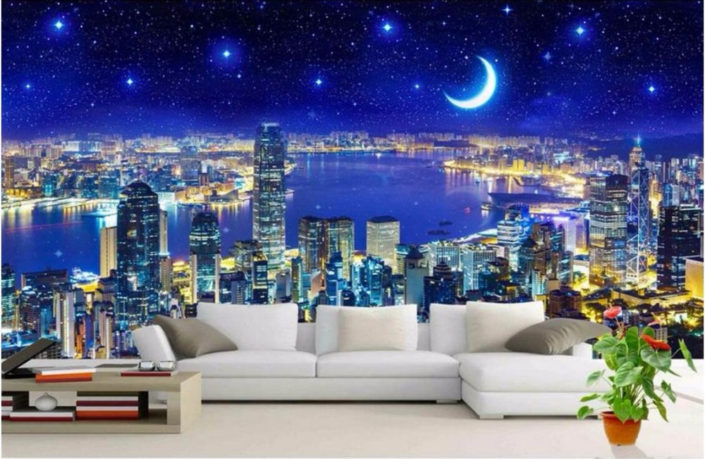 Custom photo 3d room wallpaper Non-woven picture The night sky city decoration painting 3d wall murals wallpaper for walls 3 d 3d ceiling murals wallpaper custom photo non woven flowers dove in the sky painting 3d wall mural wallpaper for living room