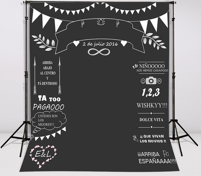 Custom Wedding Blackboard Name Date Photocall Photography Vinyl Cloth Computer Printed Chalk Background