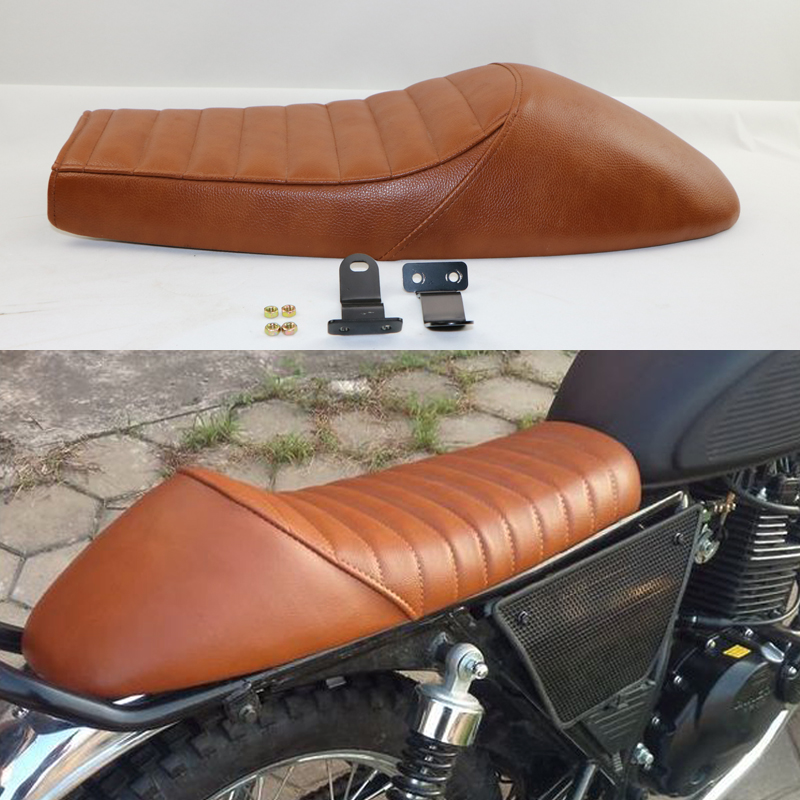 2017 BRAND NEW  BROWN MASH HUMP CAFE RACER SEAT SET COUSSION  WITH BOTTOM BRAKET VINTAGE UNIVERSAL SIMA  MOTOCYCLE CUSHION