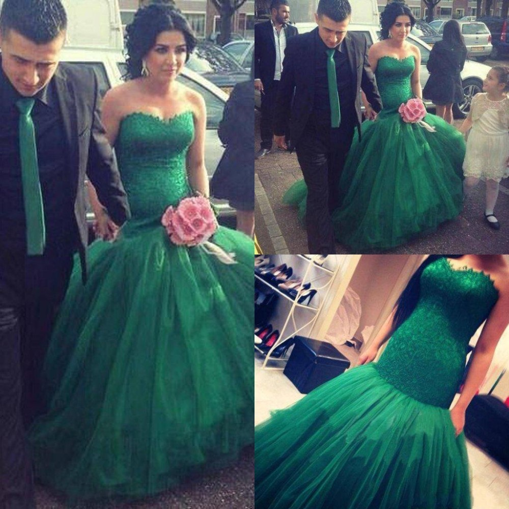 Wedding Green Wedding Dresses online buy wholesale emerald green wedding dresses from china gown sleeveless sweetheart mermaid tulle lace 2016 bridal dress