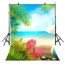 150x220cm Cartoon Beach Scene Backdrop Seaside Tourism Photography Background Studio Props