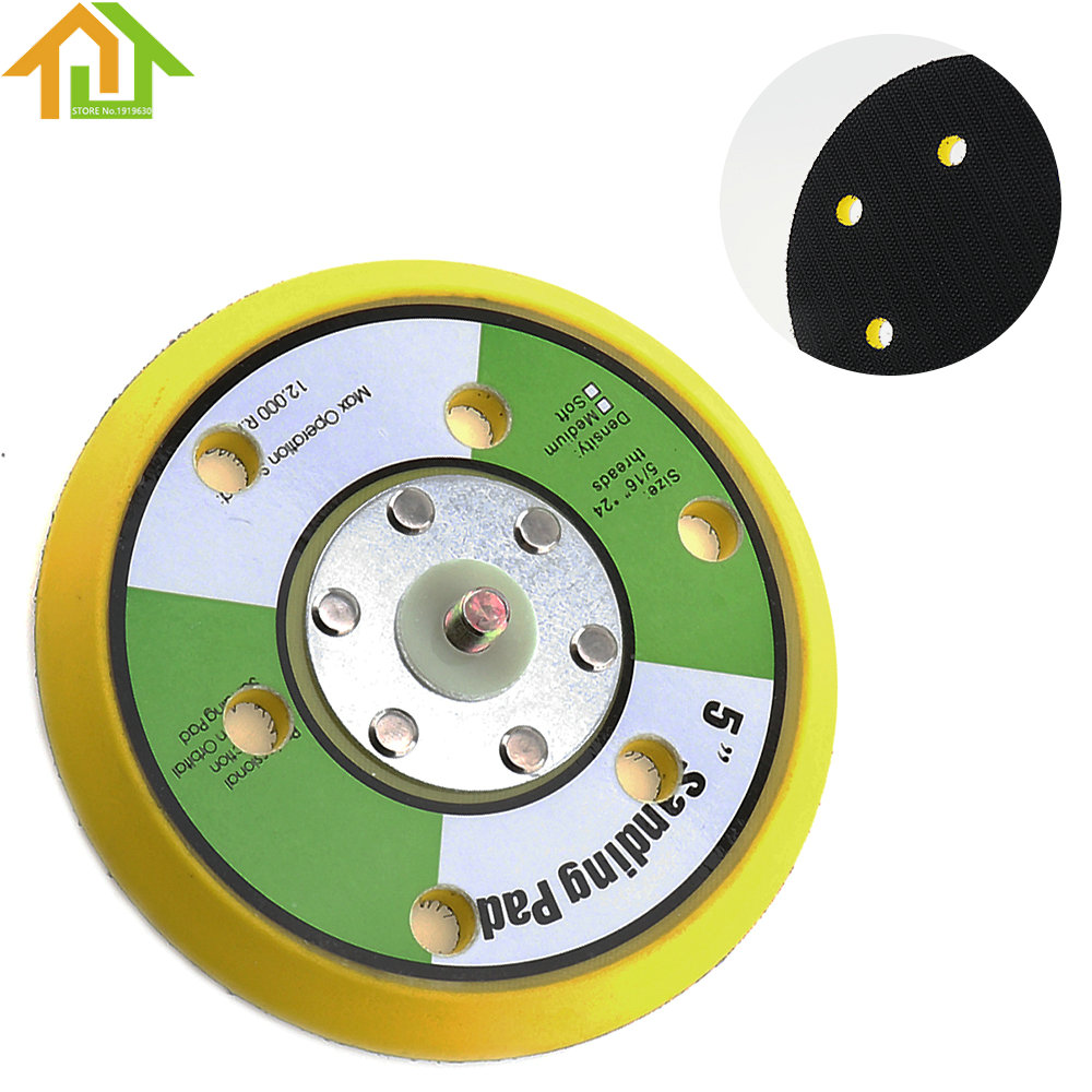 Professional 5 Inch 12000rpm Dual Action Random Orbital Sanding Pad Plate With 6 Holes For Pneumatic Sanders Air Polishers