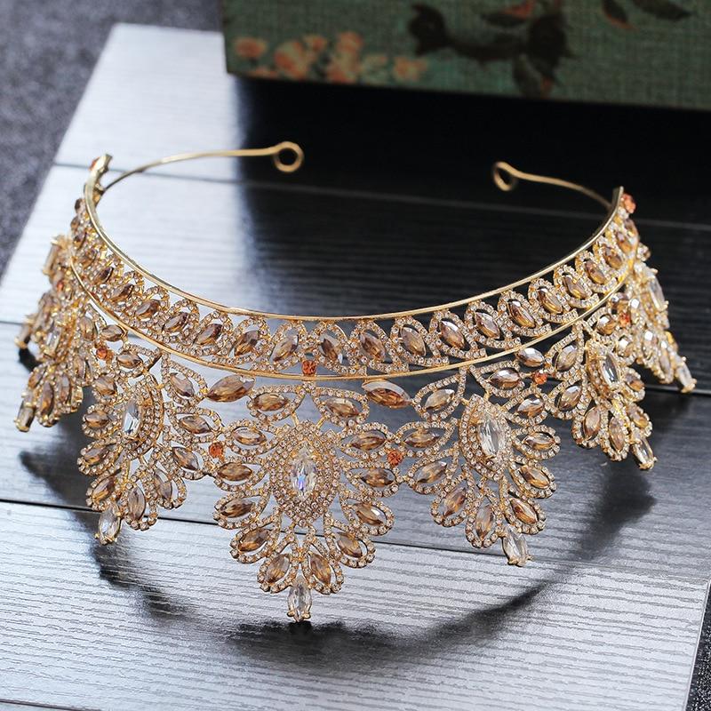 Image 3 - Champagne Rhinestone Baroque Bride Crown Korean Head Jewelry Wedding Hair Accessories Gold Crystal Pageant Tiaras Queen Crown-in Hair Jewelry from Jewelry & Accessories