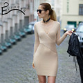 2016 new winter Europe and the United States of big shop sign v-neck package hip cultivate one's morality knitted dress
