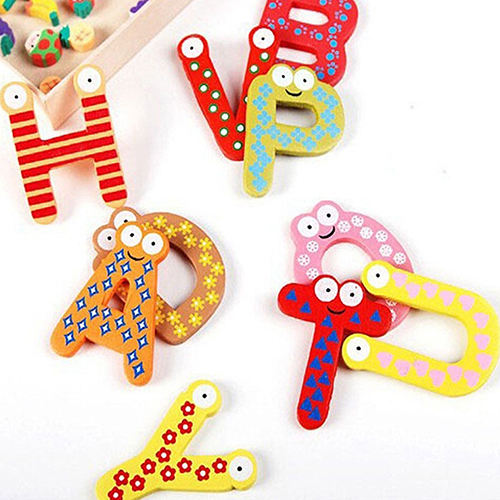 26 Alphabet Magnetic Letters Wooden English Fridge Magnets Baby Education Toys