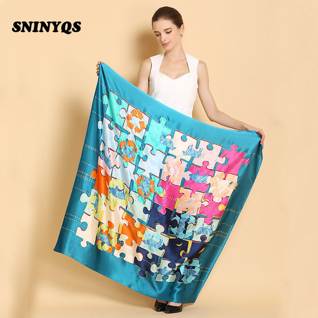 Hot Sale Summer Women 100 Pure Silk Scarf Shawls Brand Plaid Pattern Silk Scarf Square Designer Brand Women Shawl 110*110 cm