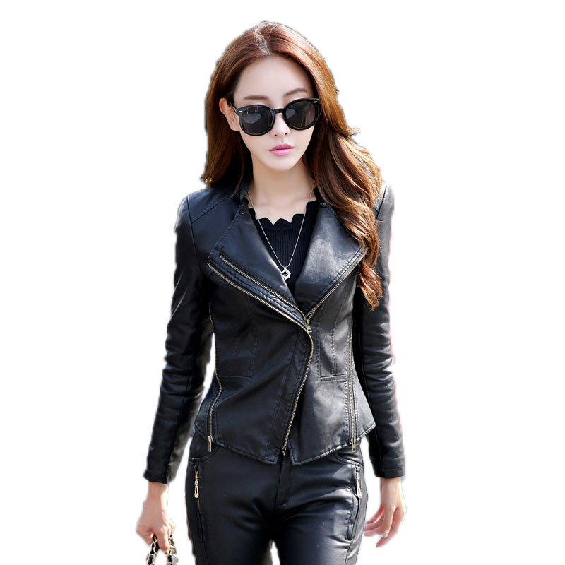 2018 NEW Ladies jacket For women fashionable leather motorcycle For women S slim Bicycle womens coat with zipper