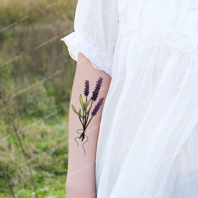 Lavender Temporary Tattoo, Waterproof Tattoo Sticker
