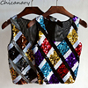 Chicanary Sequin Plaid Sleeveless Crop Tops Women Bling Tank Tops