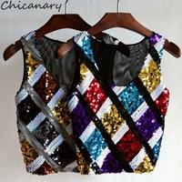 Chicanary Sequin Plaid Sleeveless Crop Tops Women Bling Tank Tops