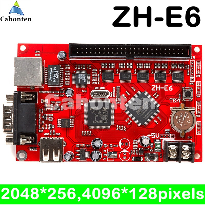 ZH-E6 Network/USB/serial port led control card 4096*128 pixels ethernet + U-disk outdoor led sign electronic controller board
