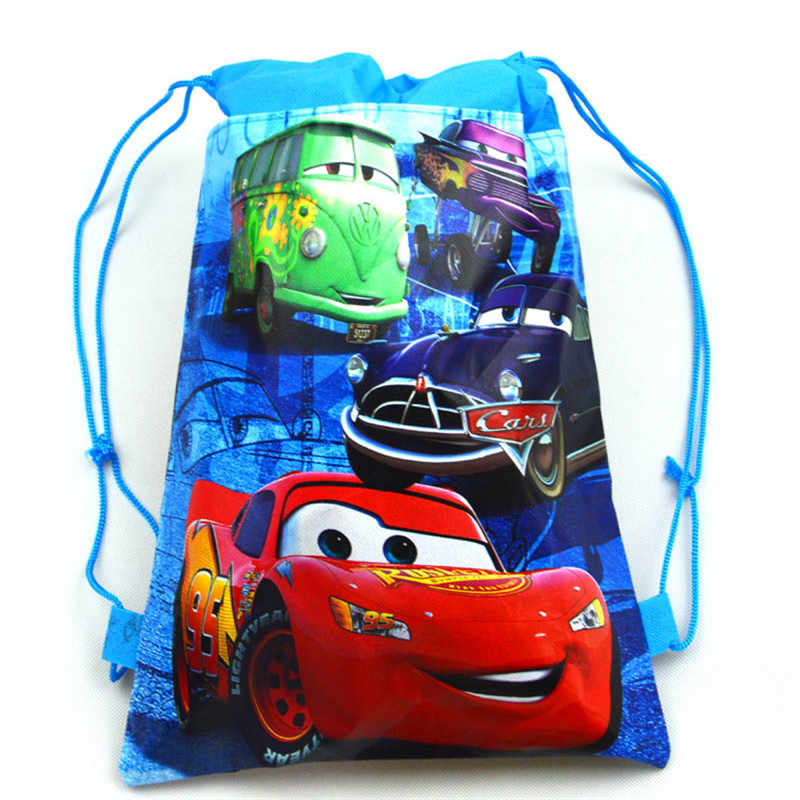 Disney Cars 1pcs Theme Lightning McQueen Non-woven Bag Fabric Backpack Child Travel School Bag Decoration Drawstring Gift Bag
