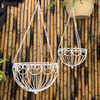 Sets Two Iron Basket Flowerpot Outdoor Balcony Hanging Basket Hanging Basket Hanging Flower Flower Green Hanging