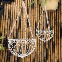 Sets two iron basket flower pot holder metal outdoor balcony flower hanging basket flower stand for wedding decoration