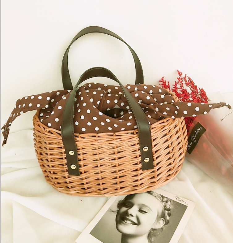 Summer Straw Bag Hand-woven Basket Rattan Beach Travel Handbags Basket Rattan Bag PU Leather Large Capacity Totes