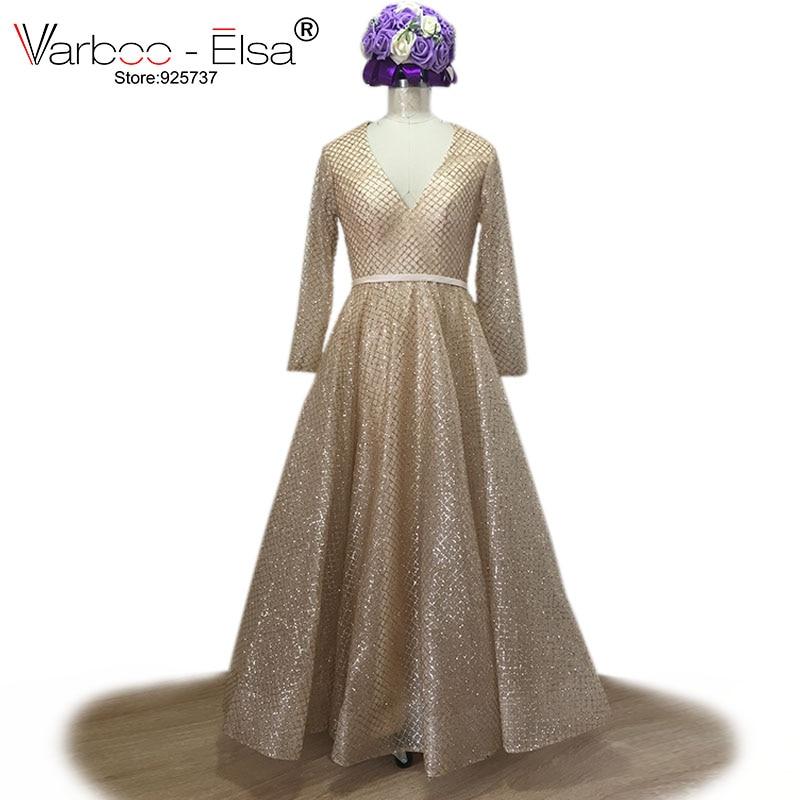 VARBOO_ELSA Champagne Sequined Bling Bling Aftonklänning V-hals - Särskilda tillfällen klänningar