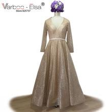 VARBOO_ELSA Champagne Sequined Bling Bling Aftonklänning V-hals Långärmad Prom Klänning 2018 A-Line Party Dress Vestido de Festa