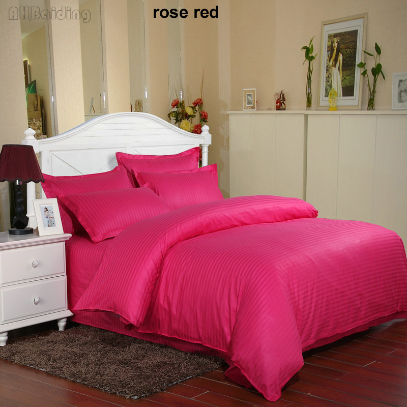 Wholesale 60s Rose Red Hotel Duvet Cover 1 Pc Satin Cotton Quilt Cover Twin Full Queen King Size Comforter Cover Free Shipping