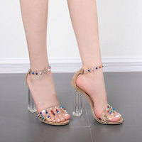 2019 summer new fashion word with the High heeled sandals transparent PVC crystal thick rivet with oversized female sandals