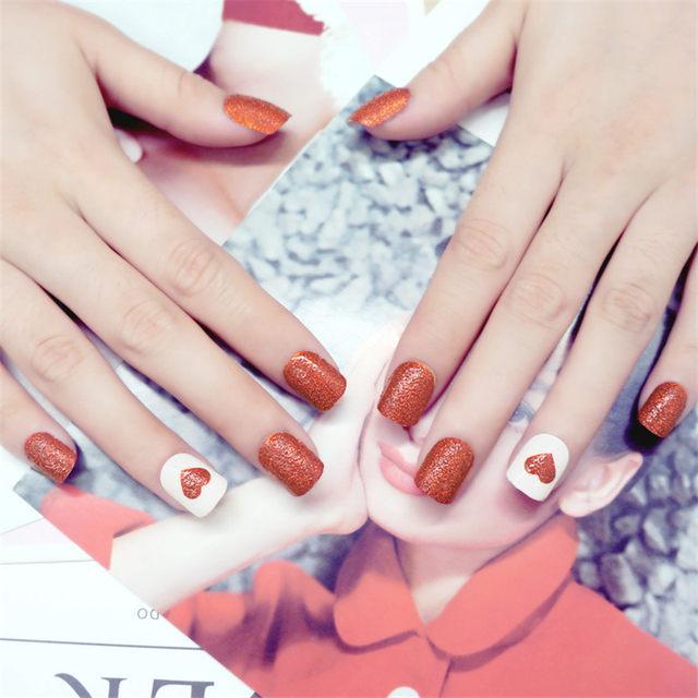 Online Shop 24pcs Shiny Red False Nail Tips Short Heart Design Fake