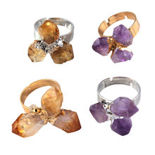 Kraft-beads New Stylish Resizable Irregular Shape Natural Purple Amethysts Ring Yellow Citrines Crystal Ring Fashion Jewelry(China)