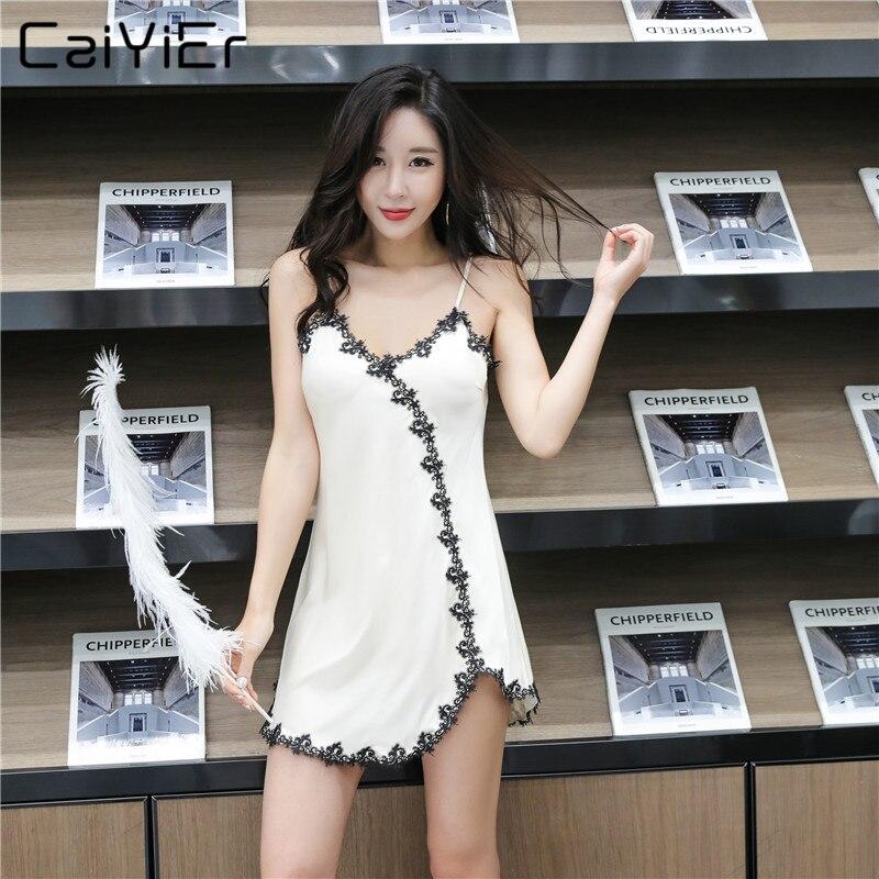 Caiyier Ladies Lace Patchwork Silk Nightwear Sexy Lingerie   Nightgown   Satin Sling Sleepwear Mini 2019 New   Sleepshirt   Homewear L20