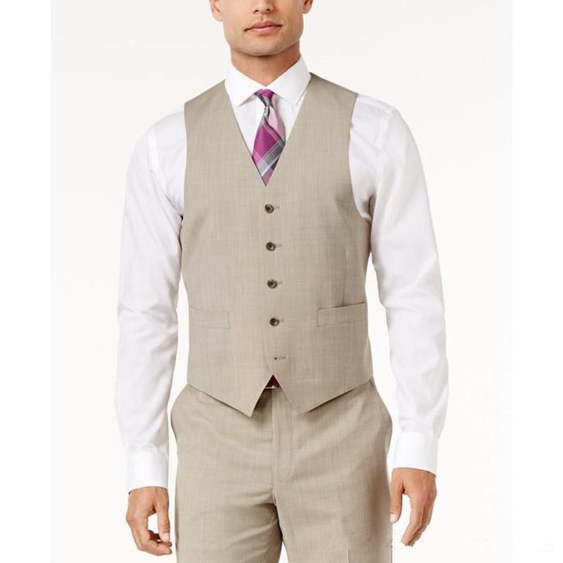 Beige Men Suit Wedding Vests Custom Made Wedding Groomsmen Business Men Suit Best Groomsmen Vest