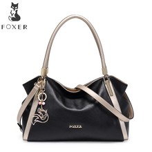 FOXER Women Handbag Genuine Cow Leather Shoulder Bag Female Luxury Fashion Totes Lady Large Capacity Hobo Bags for Woman Gift