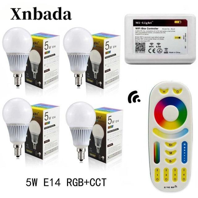 Mi lumière 5 W lampe à Led RGB + CCT E14 Led ampoule + RGBWW télécommande + IBX2 RF wifi Led à distance spot éclairage Led AC85-265V livraison gratuite