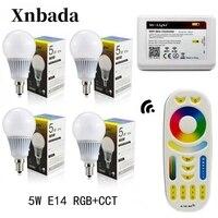 Mi Light 5W Led Lamp RGB+CCT E14 Led Bulb+RGBWW Remote+IBX2 RF Remote Wifi Led Spotlight light Led light AC85 265V Free shipping