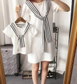 2016 Mother Daughter Dresses Fashion Striped Family Look Matching Clothes Cotton Mom Daughter Dress Family Clothing XH2426