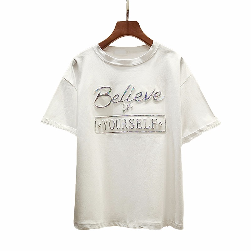 f1ca16289 Zuolunouba New Casual Tops Short Sleeve Cotton Tees Girl Letter Believe In Your  Self Print O