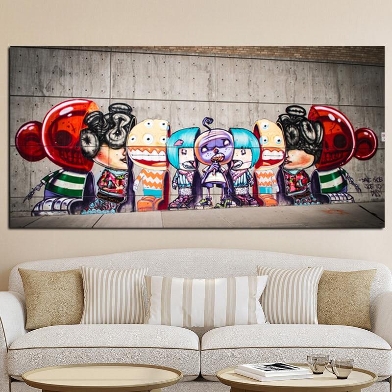 Große Figuren Für Wohnzimmer große größe graffiti poster leinwand malerei straße pop kunst utopia
